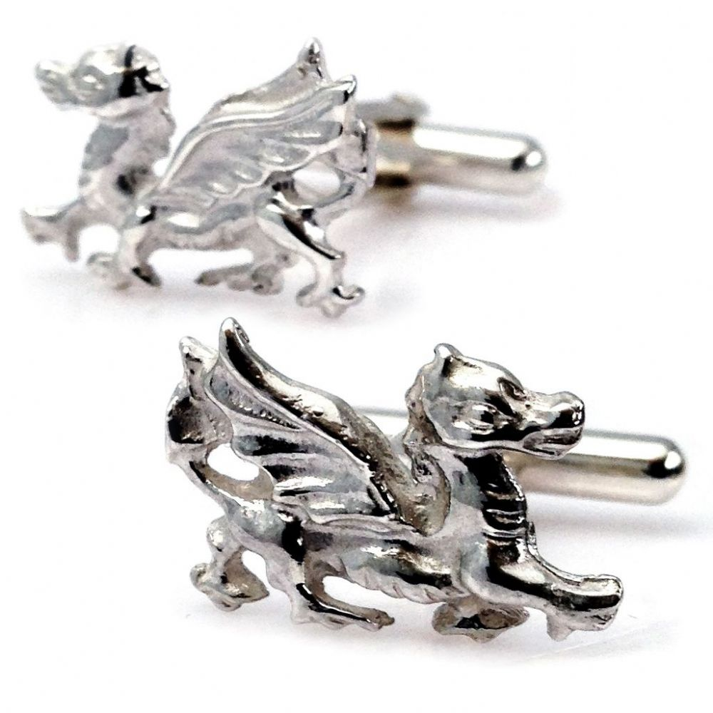 925 Sterling Silver Wales Cymru Welsh Dragon Cufflinks by Francis Hamilton
